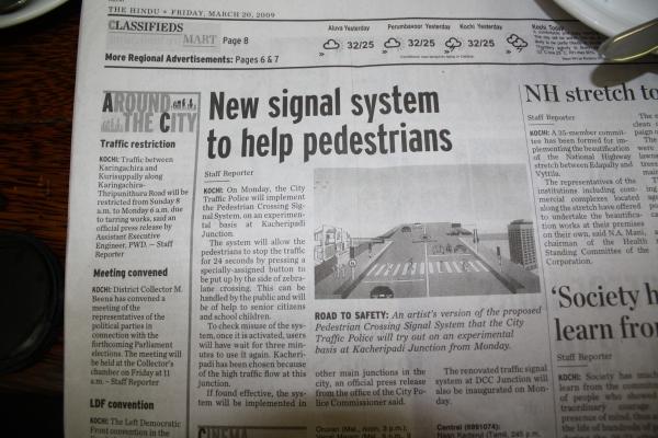 Kochi gets a pedestrian crossing